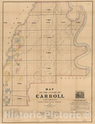 Historic 1860 Map - Map of The Parish of Carroll, Louisiana : from The United States surveys.