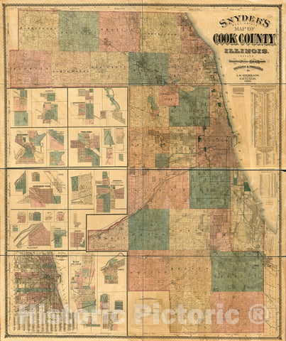 Historic 1886 Map - Snyder's Real Estate map of Cook County, Illinois : indexed