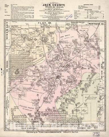 Historic 1876 Map - Map of Jack County, State of Texas : exhibiting The Extent of Public surveys Land Grants and All Other Official Information compiled from Official surveys