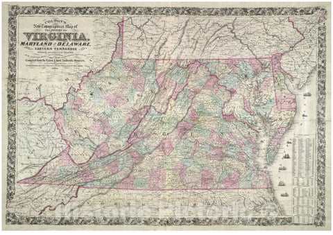 Historic 1864 Map - Colton's New Topographical map of The States of Virginia, Maryland and Delaware, Showing Also Eastern Tennessee