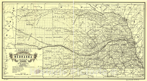 Historic 1889 Map - Railway map of Nebraska Issued by State Board of Transportation 1889.