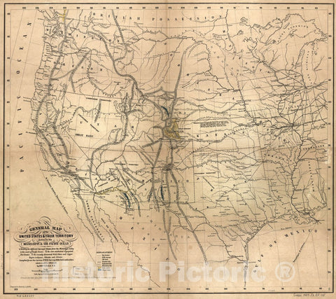 Historic 1859 Map - General map of The United States & Their Territory Between The Mississippi & The Pacific Ocean. 1. Showing The Different surveyed Routes from The Mississippi Valley