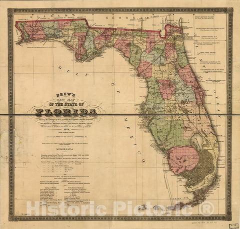 Historic 1874 Map - Drew's New map of The State of Florida, Showing The townships by The U.S. Surveys, The Completed & projected Railroads, The Different Railroad Stations