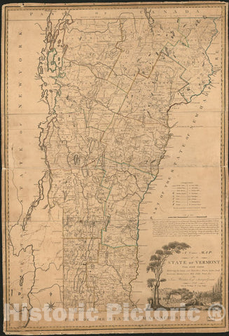 Historic 1796 Map - A Correct map of The State of Vermont : exhibiting The County and Town Lines, Rivers, Lakes, Ponds, Mountains, meetinghouses, Mills, Public Roads