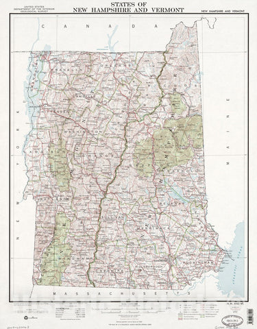 Historic 1972 Map - States of New Hampshire and Vermont : Base map with Highways and Contours, 1972