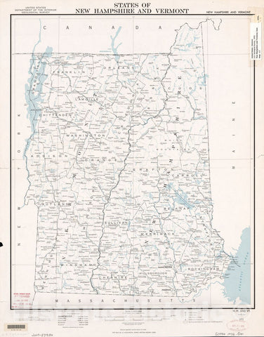 Historic 1972 Map - States of New Hampshire and Vermont : Base map, 1972