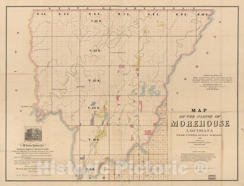 Historic 1860 Map - Map of The Parish of Morehouse, Louisiana : from United States surveys.