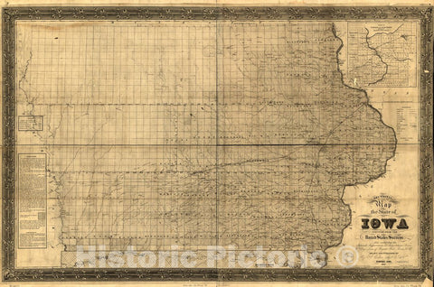 Historic 1850 Map - Sectional map of The State of Iowa, compiled from The United States surveys Also exhibiting The Internal improvements, Distances Between Towns & Villages