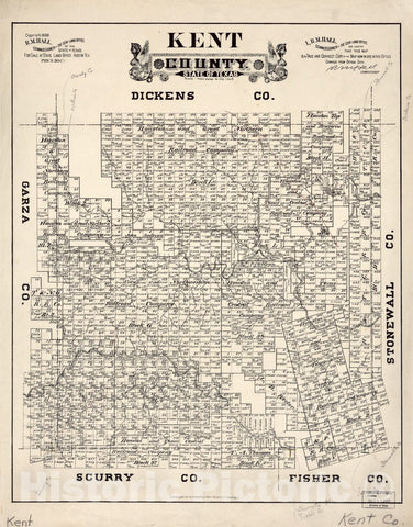 Historic 1888 Map - Kent County, State of Texas