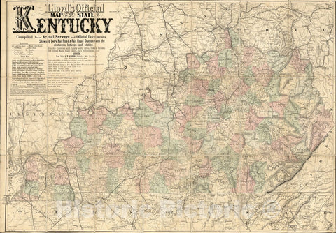 Historic 1863 Map - Lloyd's Official map of The State of Kentucky compiled from Actual surveys and Official documents, Showing Every Rail Road & Rail Road Station