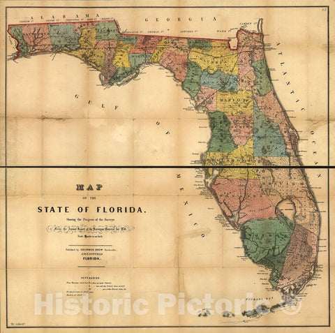 Historic 1856 Map - Map of The State of Florida Showing The Progress of The surveys; from The Annual Report of The Surveyor General for 1856.