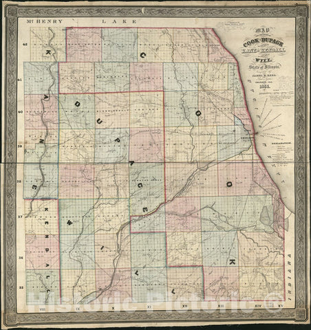 Historic 1851 Map - Map of The Counties of Cook and DuPage, The East Part of Kane and Kendall, The North Part of Will, State of Illinois