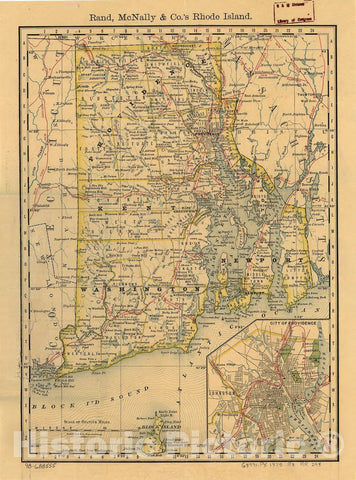 Historic 1875 Map - Indexed map of Rhode Island Showing The Railroads in The State, and The Express Company Doing Business Over Each, Also Counties, townships, Lakes, Rivers, Islands, etc.