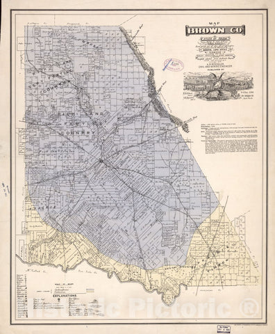 Historic 1876 Map - Map of Brown Co, State of Texas : Showing The Extent of All Public surveys