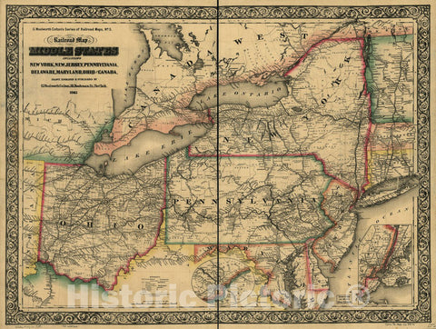 Historic 1865 Map - New Railroad map of The Middle States Including New York, New Jersey, Pennsylvania, Delaware, Maryland, Ohio and Canada