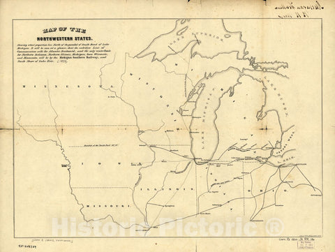 Historic 1850 Map - Map of The Northwestern States. Shewing sic What Proportion Lies North of The Parallel of South Bend of Lake Michigan.