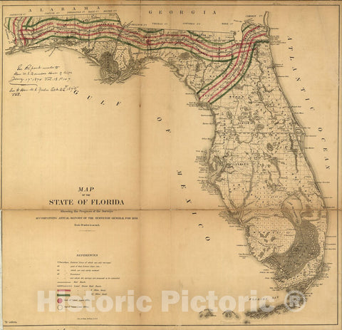Historic 1859 Map - Map of The State of Florida Showing The Progress of The surveys accompanying Annual Report of The Surveyor General for 1859.