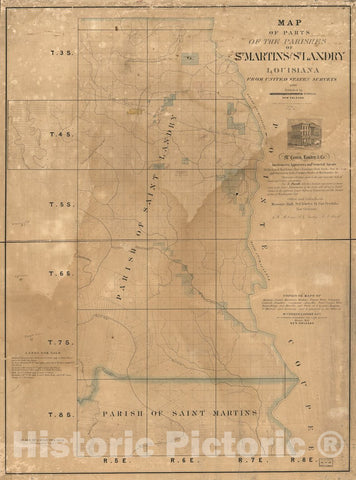 Historic 1860 Map - Map of Parts of The Parishes of St. Martins and St. Landry, Louisiana : from United States surveys.