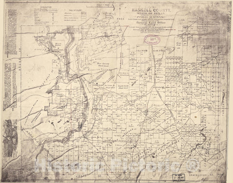 Historic 1876 Map - Map of Haskell County, State of Texas : exhibiting The Extent of Public surveys, Land Grants and All Other Official Information compiled from Official surveys
