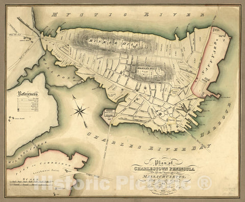 Historic 1818 Map - Plan of Charlestown Peninsula in The State of Massachusetts