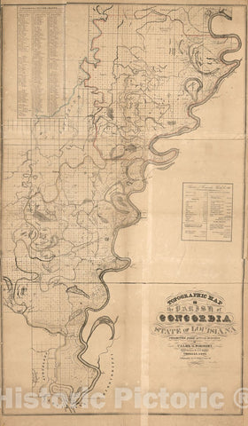 Historic 1841 Map - Topographic map of The Parish of Concordia, State of Louisiana