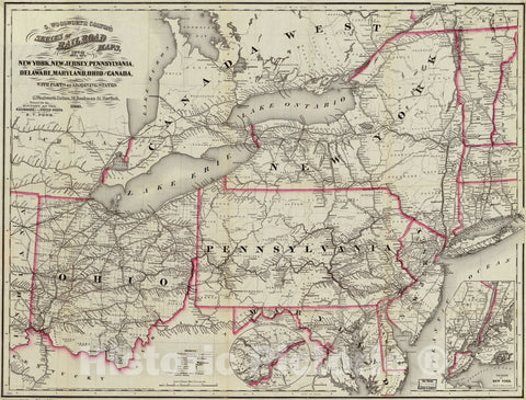 Historic 1860 Map - New York, New Jersey, Pennsylvania, Delaware, Maryland, Ohio and Canada, with Parts of adjoining States.