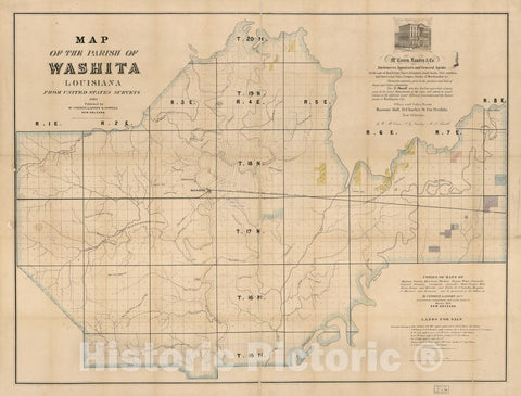 Historic 1860 Map - Map of The Parish of Washita, Louisiana : from United States Surveys.