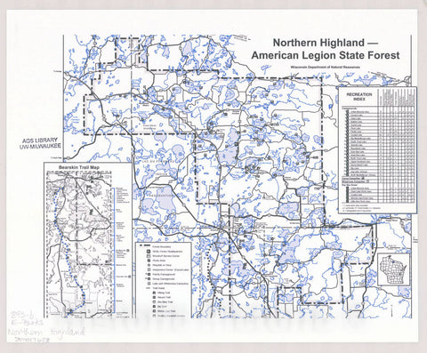 Map : Northern Highland - American Legion State Forest, Wisconsin , [Wisconsin state parks , forests, recreation areas & trails maps], Antique Vintage Reproduction