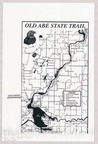 Map : Old Abe State Trail, Wisconsin , [Wisconsin state parks , forests, recreation areas & trails maps], Antique Vintage Reproduction