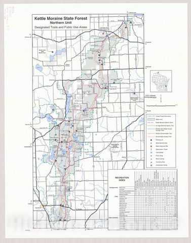 Map : Kettle Moraine State Forest, Northern Unit, designated trails and public use areas, Wisconsin , [Wisconsin state parks , forests, recreation areas & trails maps]