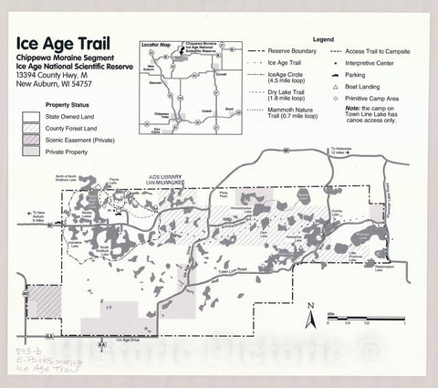 Map : Ice Age Trail, Chippewa Moraine Segment, Ice Age National Scientific Reserve, Wisconsin , [Wisconsin state parks , forests, recreation areas & trails maps]