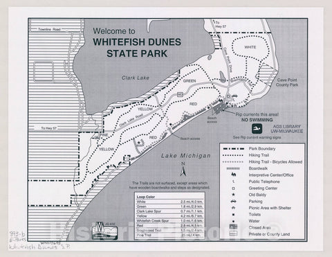 Map : Welcome to Whitefish Dunes State Park, Wisconsin , [Wisconsin state parks , forests, recreation areas & trails maps], Antique Vintage Reproduction