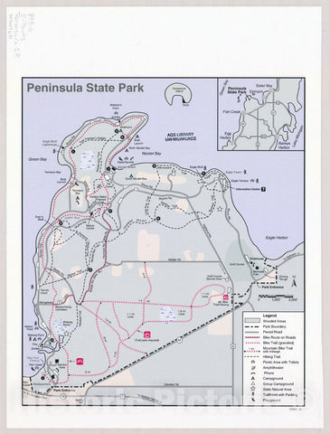 Map : Peninsula State Park, Wisconsin , [Wisconsin state parks , forests, recreation areas & trails maps], Antique Vintage Reproduction