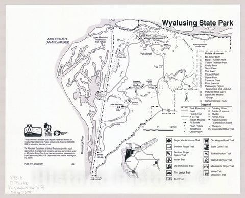Map : Wyalusing State Park, Wisconsin , [Wisconsin state parks , forests, recreation areas & trails maps], Antique Vintage Reproduction