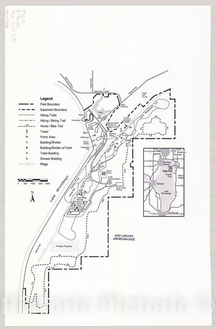 Map : High Cliff State Park, Wisconsin , [Wisconsin state parks , forests, recreation areas & trails maps], Antique Vintage Reproduction