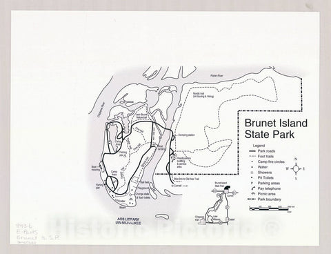 Map : Brunet Island State Park, Wisconsin , [Wisconsin state parks , forests, recreation areas & trails maps], Antique Vintage Reproduction
