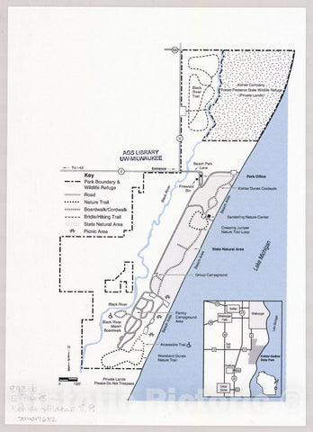 Map : Kohler Andrae State Park, Wisconsin , [Wisconsin state parks , forests, recreation areas & trails maps], Antique Vintage Reproduction