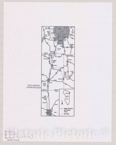 Map : Badger Trail, Wisconsin , [Wisconsin state parks , forests, recreation areas & trails maps], Antique Vintage Reproduction