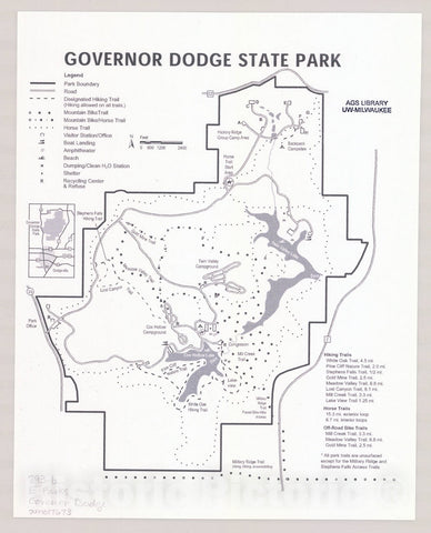 Map : Governor Dodge State Park, Wisconsin , [Wisconsin state parks , forests, recreation areas & trails maps], Antique Vintage Reproduction