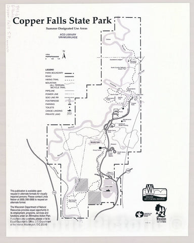 Map : Copper Falls State Park, Wisconsin , [Wisconsin state parks , forests, recreation areas & trails maps], Antique Vintage Reproduction