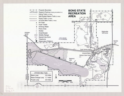 Map : Bong State Recreation Area, Wisconsin , [Wisconsin state parks , forests, recreation areas & trails maps], Antique Vintage Reproduction