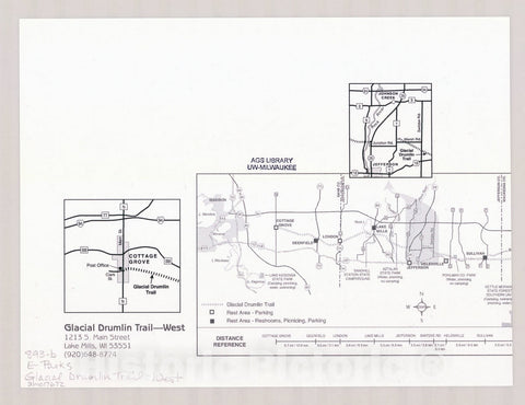 Map : Glacial Drumlin Trail - West, Wisconsin , [Wisconsin state parks , forests, recreation areas & trails maps], Antique Vintage Reproduction