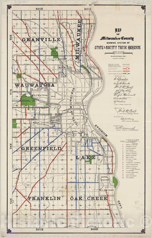 Map : Milwaukee County, Wisconsin 1927, Map of Milwaukee County : showing system of state and county trunk highways , Antique Vintage Reproduction