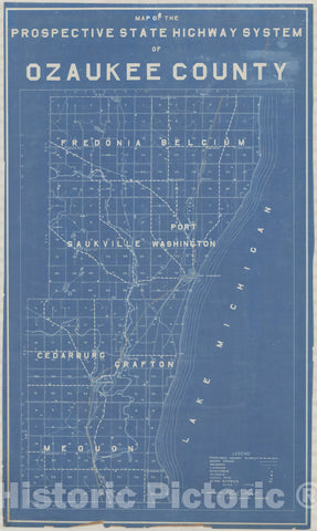 Map : Ozaukee County, Wisconsin 1913, Map of the prospective State Highway System of Ozaukee County, Antique Vintage Reproduction