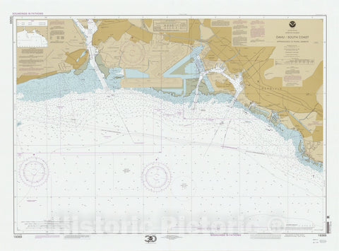 Map : Pearl Harbor, Hawaii 2000, United States, Hawaiian Islands, Oahu, South Coast, approaches to Pearl Harbor , Antique Vintage Reproduction