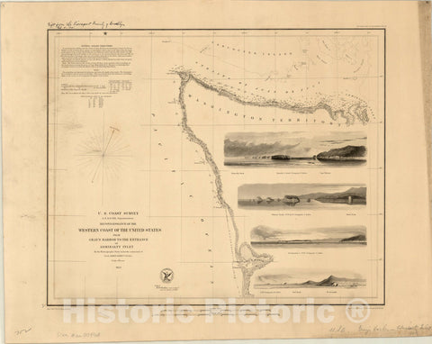 Map : California 1853, Reconnaissance of the western coast of the United States : lower sheet : San Francisco to San Diego , Antique Vintage Reproduction