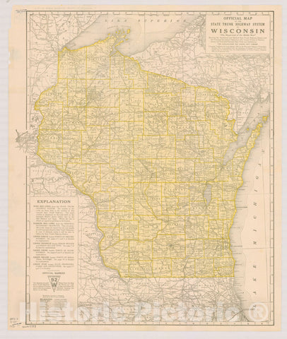 Map : Wisconsin 1918 2, Official map of the state trunk highway system of Wisconsin , Antique Vintage Reproduction