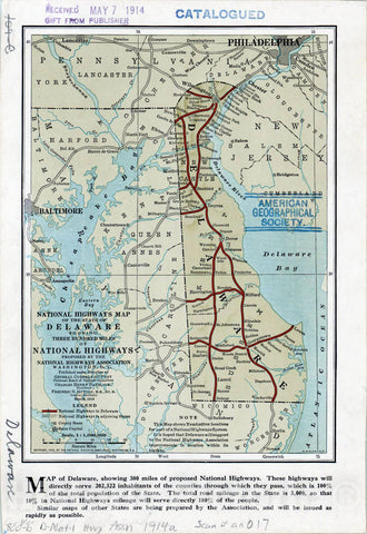 Map : Delaware 1914, National highways map of the state of Delaware : showing three hundred miles of national highways proposed by the National Highways Association