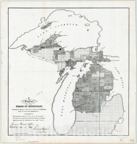 Map : Michigan 1849, Diagram of the state of Michigan : showing the districts embraced in contracts for subdivisions north of Grand and Saganaw Rivers