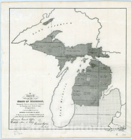 Map : Michigan 1849, Sketch of the state of Michigan : showing the districts embraced in contracts for subdivisions north of Grand and Saganaw Rivers